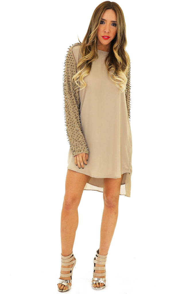 LONG SLEEVE BEADED TUNIC - Olive