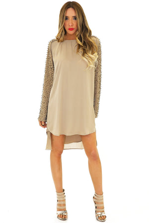 LONG SLEEVE BEADED TUNIC - Olive - Haute & Rebellious
