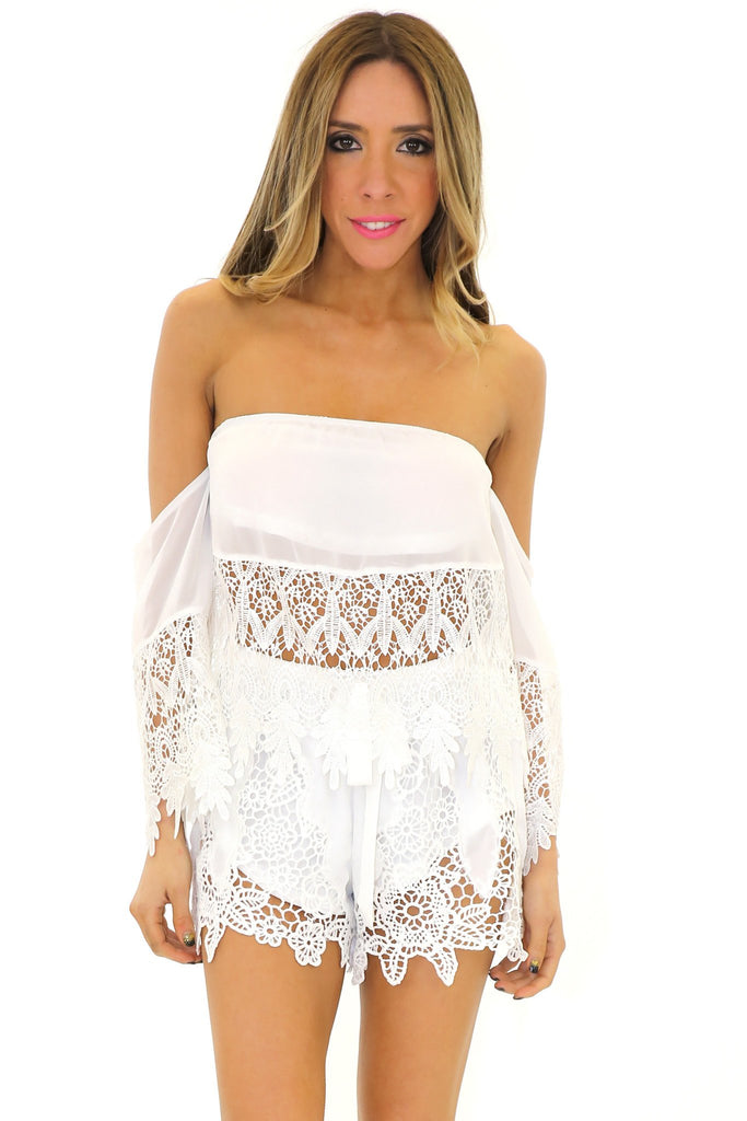 BALDWIN LACE TUBE TOP - White