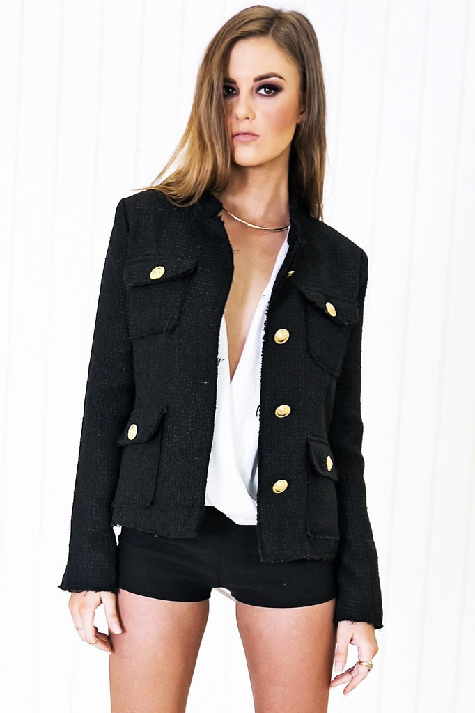 Emery Gold Button Tweed Jacket - Black - Haute & Rebellious