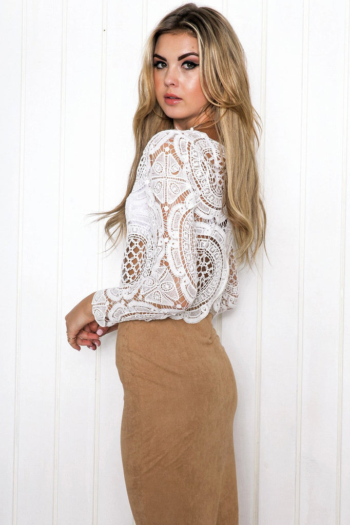 Faline Crochet Long Sleeve Top - Haute & Rebellious