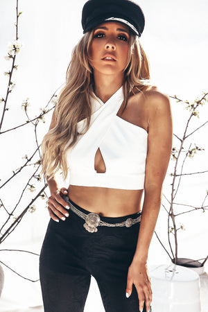 Halter Cross Crop Top - White