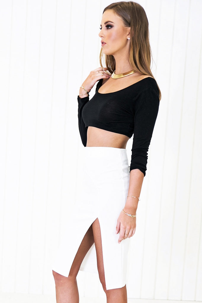 Raquel Slit Pencil Skirt - White