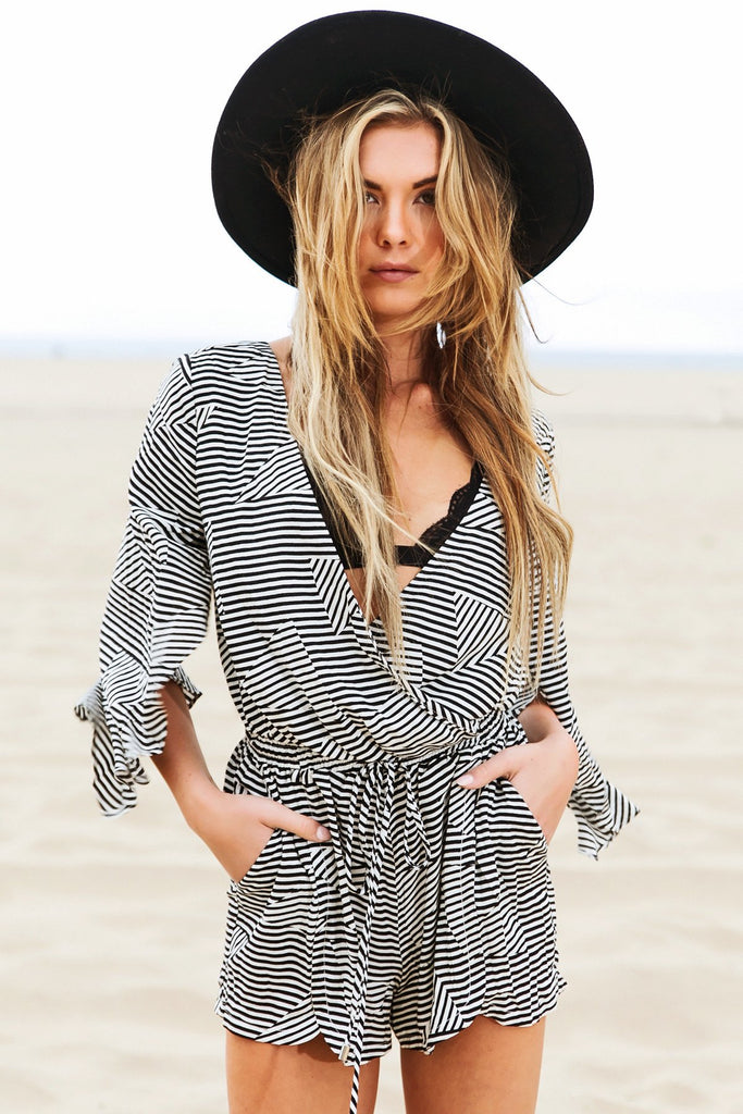 Jessie Striped V-Neck Romper