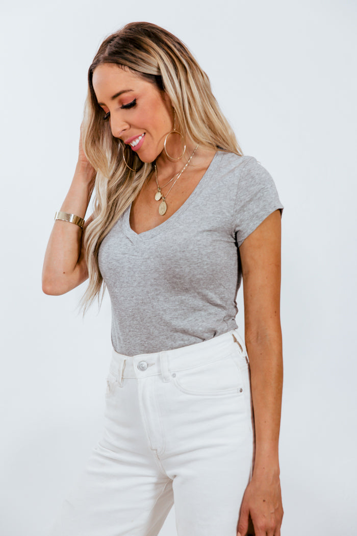 Basic V-Neck Tee - Heather Grey