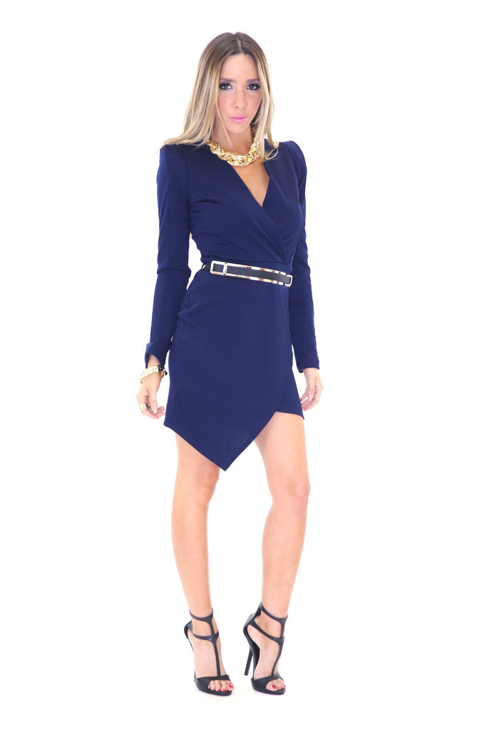 JANICE DEEP-V BODYCON DRESS - NAVY