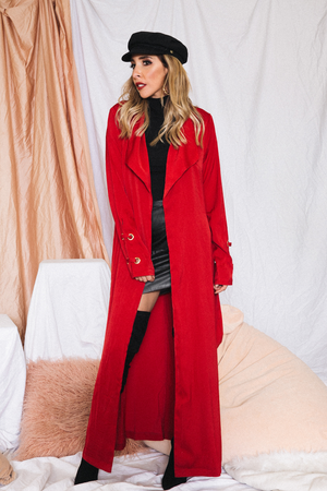 Wrap Soft Trench Coat - Red