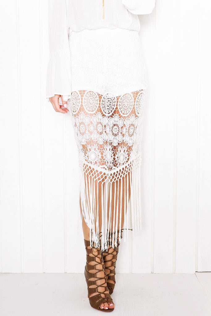 Nora Crochet Fringe Skirt - White