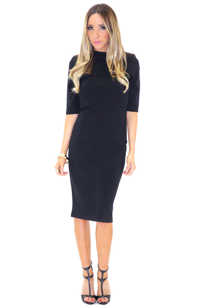 PARADOX SCUBA MIDI DRESS - BLACK