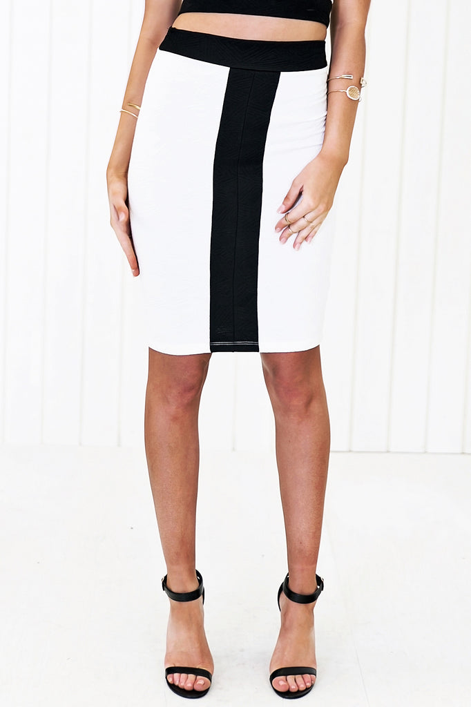 Priya Contrast Pencil Skirt - White - Haute & Rebellious