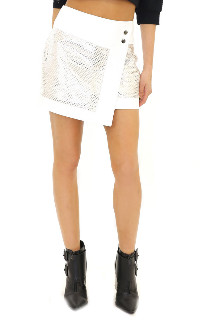 METALLIC LEATHER CONTRAST SKIRT