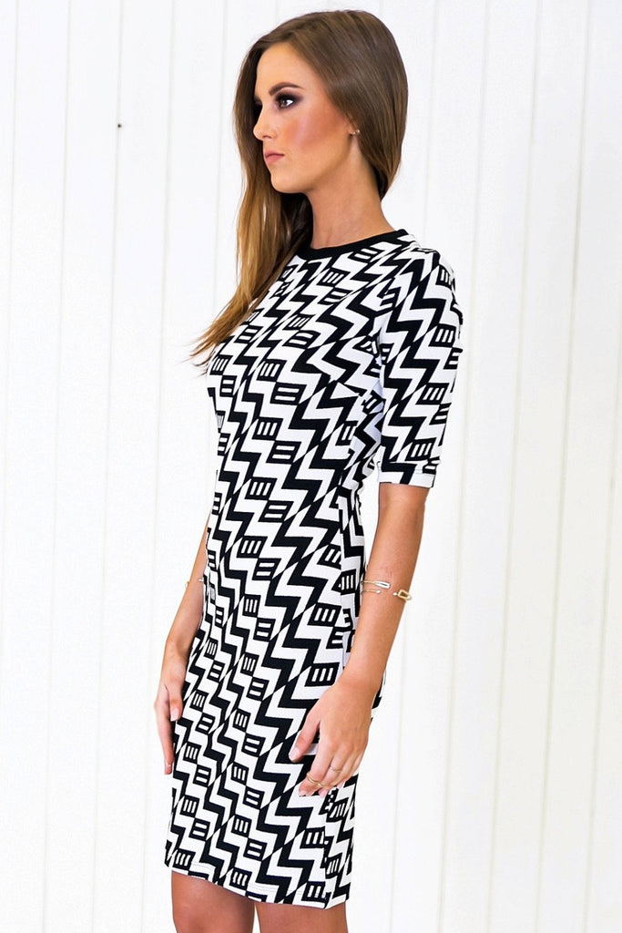 Niva Geometric Pattern Midi Dress