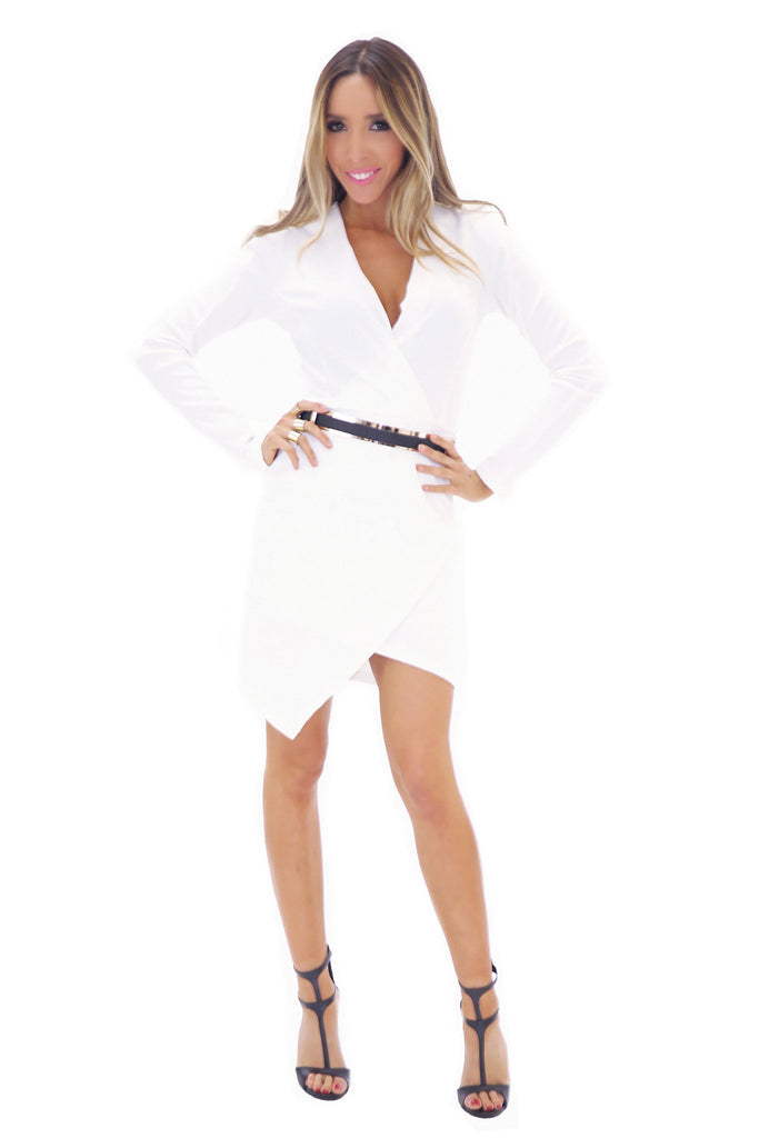 JANICE DEEP-V BODYCON DRESS - WHITE