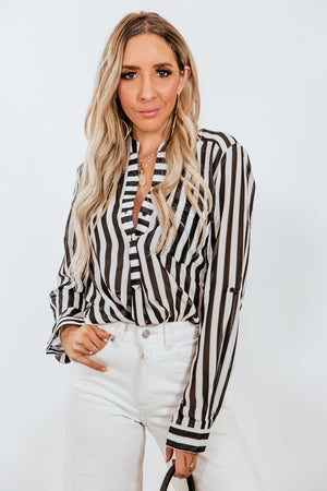 Black & White Striped Chiffon Blouse