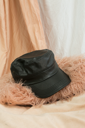 Faux Leather Baker Boy Cap