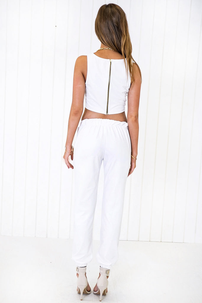 Caput Leather Track Pant - White