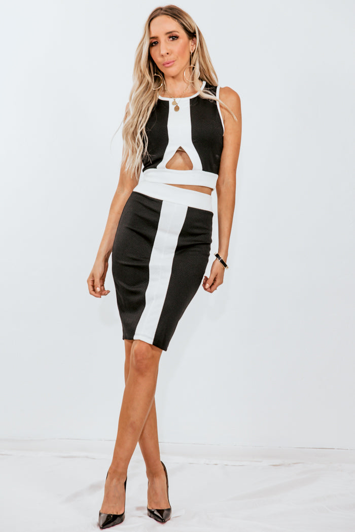 Contrast Crop Top & Skirt Set - Black/White