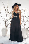 Calina Crochet Woven Maxi Dress - Black