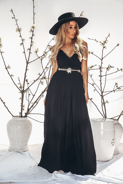 Calina Crochet Woven Maxi Dress - Black /// Only 1-L Left ///