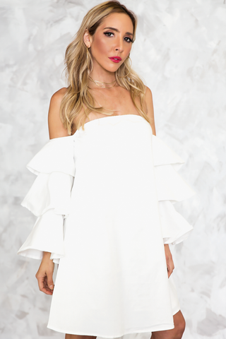 HAUTE & REBELLIOUS OFF SHOULDER TIRED RUFFLE SLEEVES DRESS