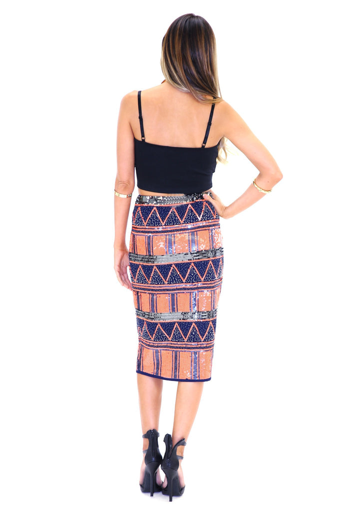 ADAHY TRIBAL SEQUIN SKIRT - NEON ORANGE