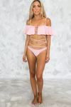 Ruffle Two-Piece Bikini Set - Blush - Haute & Rebellious