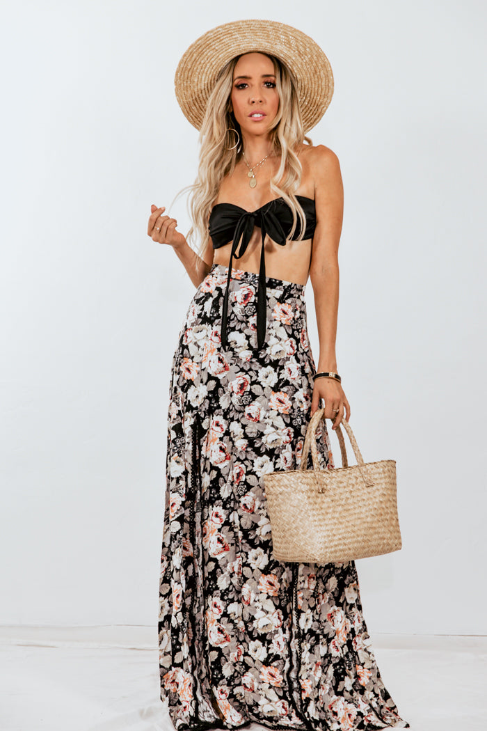 Floral Maxi Skirt with Slits /// Only 1-L Left ///