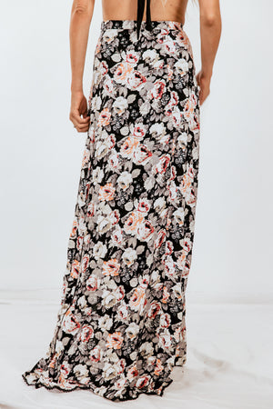 Floral Maxi Skirt with Slits
