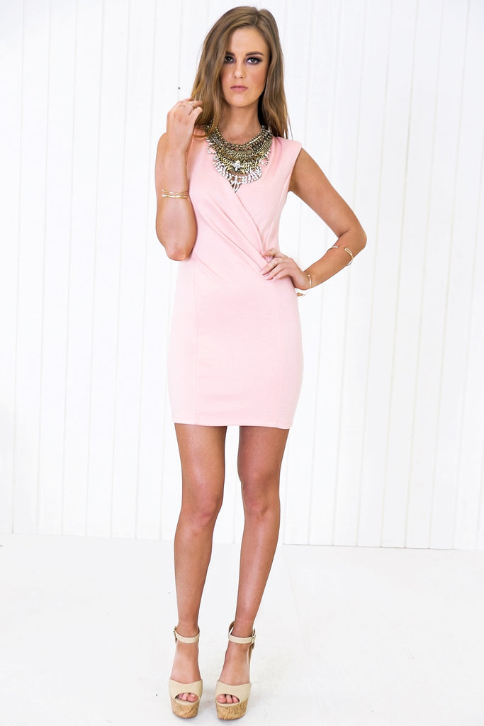 Franci Sleeveless Deep-V Wrap Dress - Rose (old)