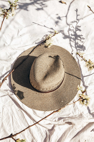 LONG BRIM WOOL STITCHED FEDORA - Brown