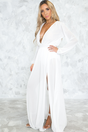 It's Something More Mesh Slit Maxi Dress - Haute & Rebellious