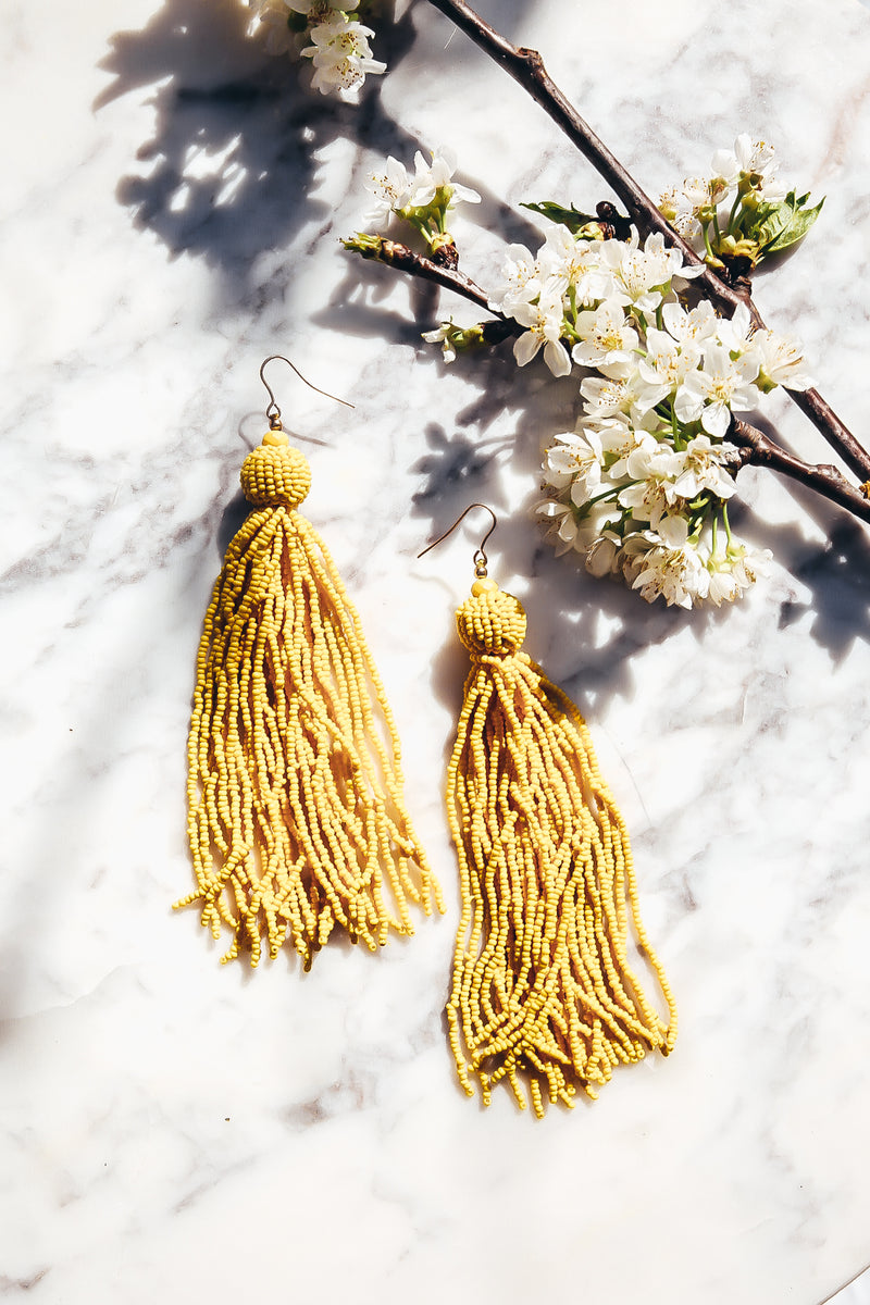 Fringe Tassel Earrings - Yellow