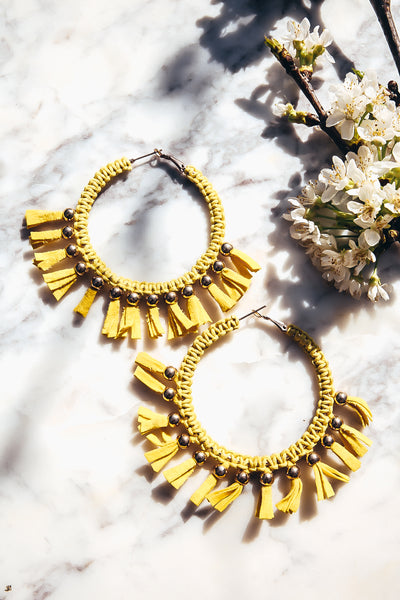 Fringe Hoop Earrings - Yellow