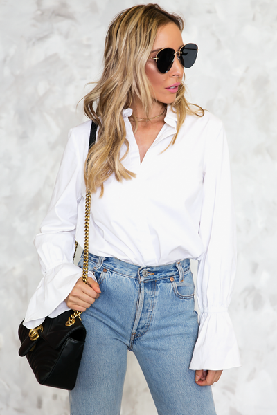 So Real Ruffle Sleeve Button-Up Shirt