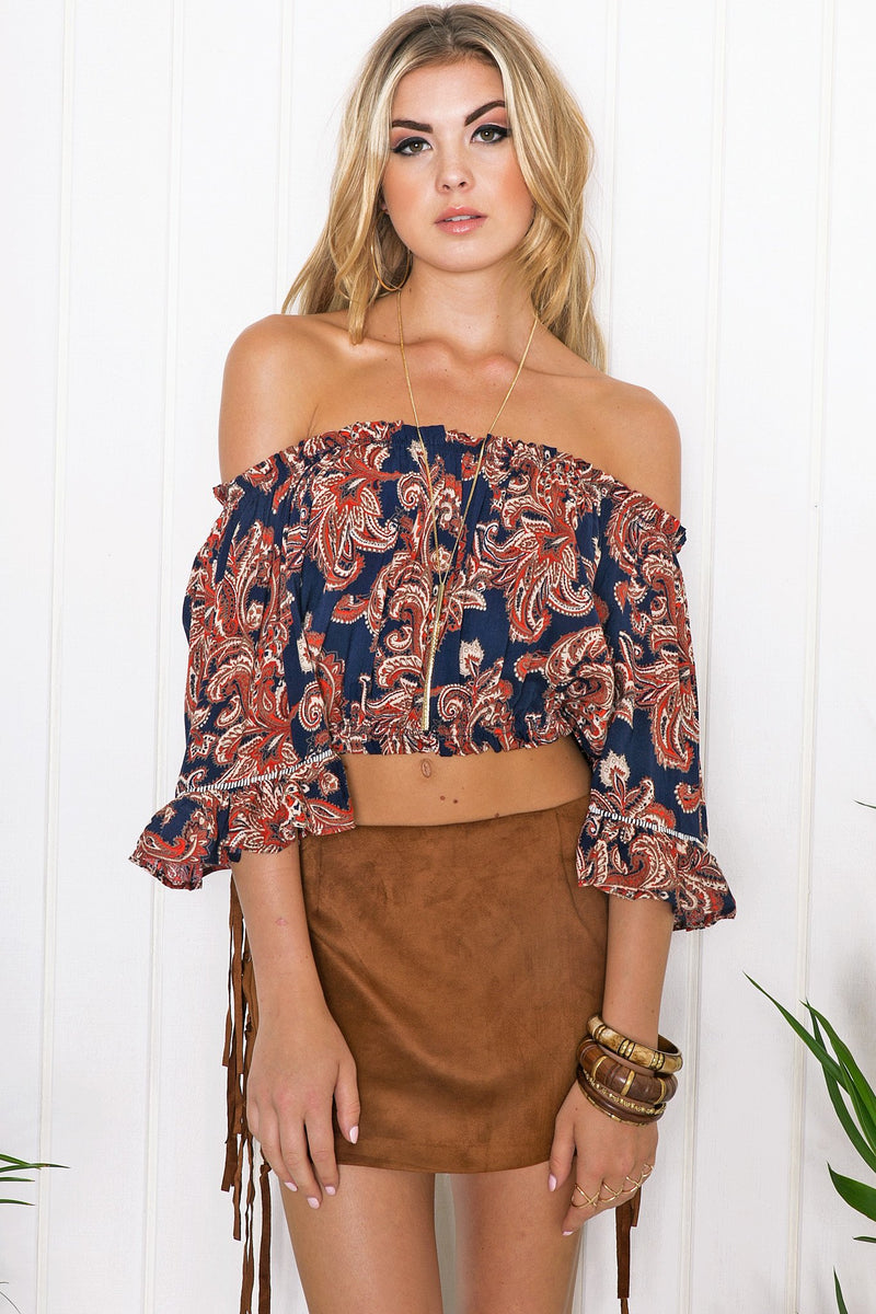 Brielle Bell Sleeve Crop Top - Haute & Rebellious