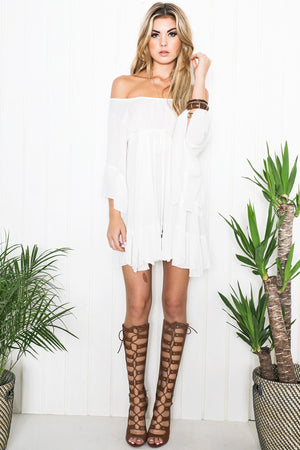 Aulora Bell Sleeve Dress - White - Haute & Rebellious