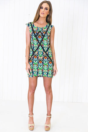 Geo Tropical Print Dress - Haute & Rebellious