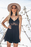 Lace Detail Mini Dress - Black