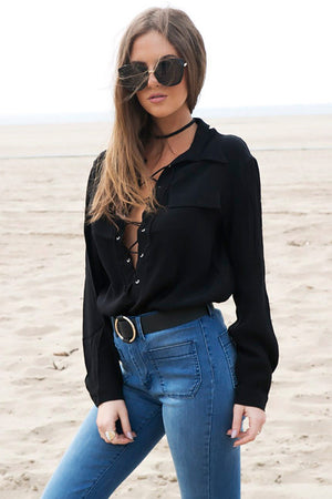 On the Lace Up Blouse - Black - Haute & Rebellious