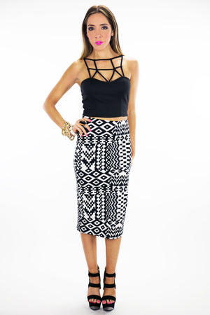 TRIBAL PRINT LONG PENCIL SKIRT - Haute & Rebellious