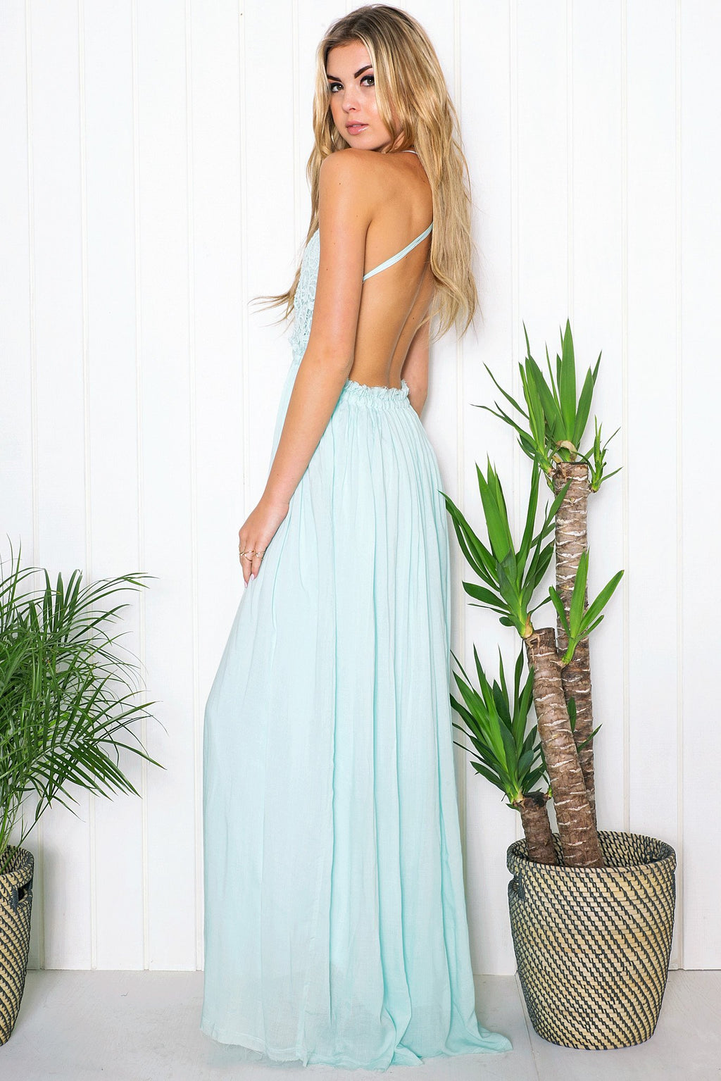 Camilla Open Back Crochet Maxi Dress - Mint - Haute & Rebellious