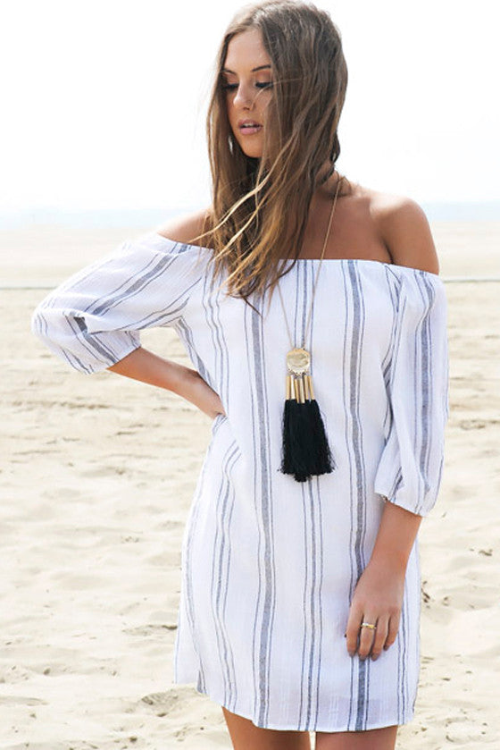 White Stripes Off the Shoulder Dress