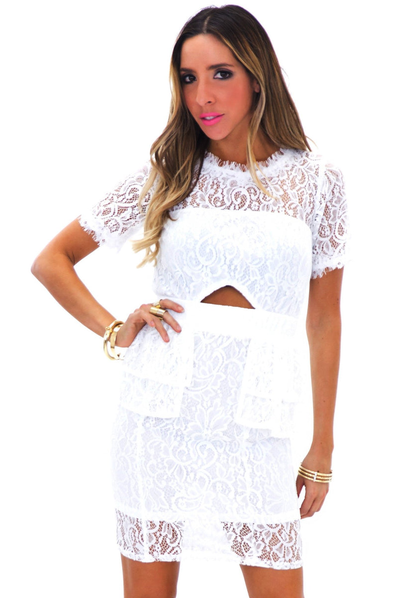 BELLAMIE LACE PEPLUM DRESS - WHITE - Haute & Rebellious