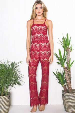 Kali Lace Open Back Jumpsuit - Burgundy - Haute & Rebellious