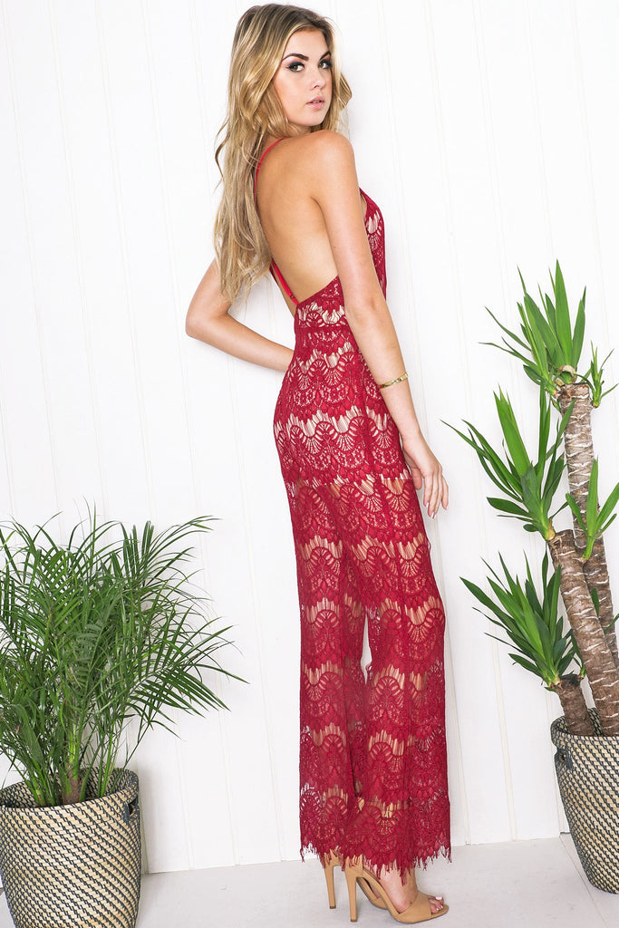 Kali Lace Open Back Jumpsuit - Burgundy