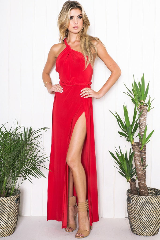 Evadne High-Slit Maxi Dress