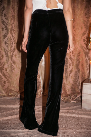 Allure Velvet Studded Bell Bottom Pants - Haute & Rebellious