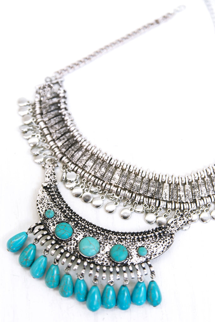 Mayan Metal Boho Necklace