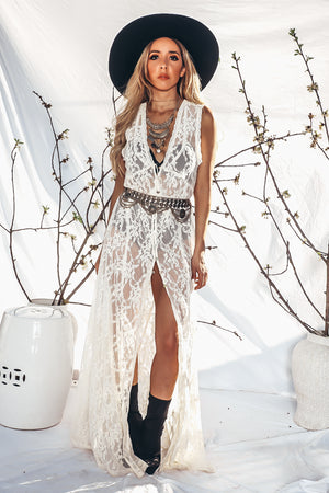 Lace Button-Up Maxi Dress