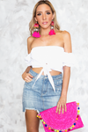 Tie Me Up Off-Shoulder Crop Top - Haute & Rebellious